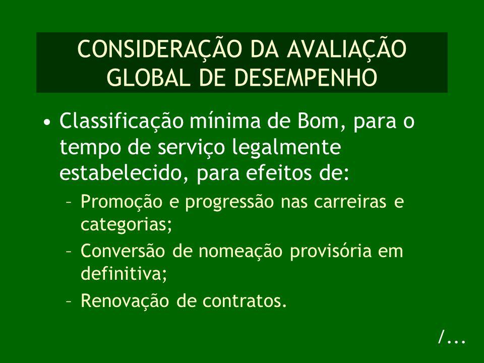 CONSIDERAÇÃO DA AVALIAÇÃO GLOBAL DE DESEMPENHO