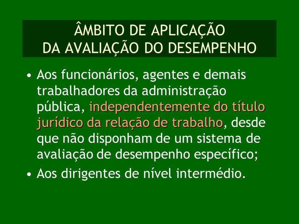 ÂMBITO DE APLICAÇÃO DA AVALIAÇÃO DO DESEMPENHO