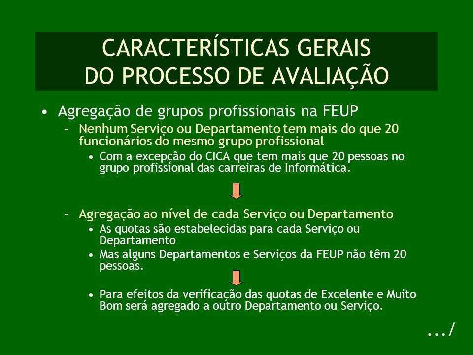CARACTERÍSTICAS GERAIS DO PROCESSO DE AVALIAÇÃO