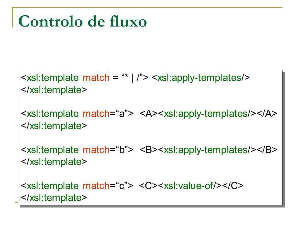 Controlo de fluxo <xsl:template match = * | / > <xsl:apply-templates/> </xsl:template> <xsl:template match= a > <A><xsl:apply-templates/></A>