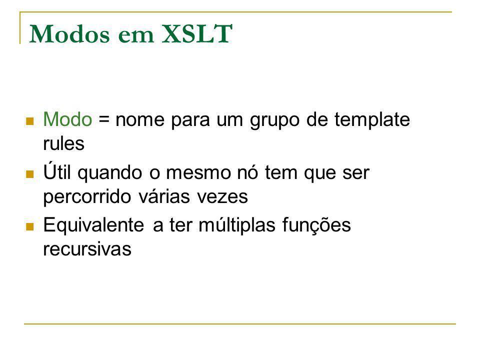Modos em XSLT Modo = nome para um grupo de template rules