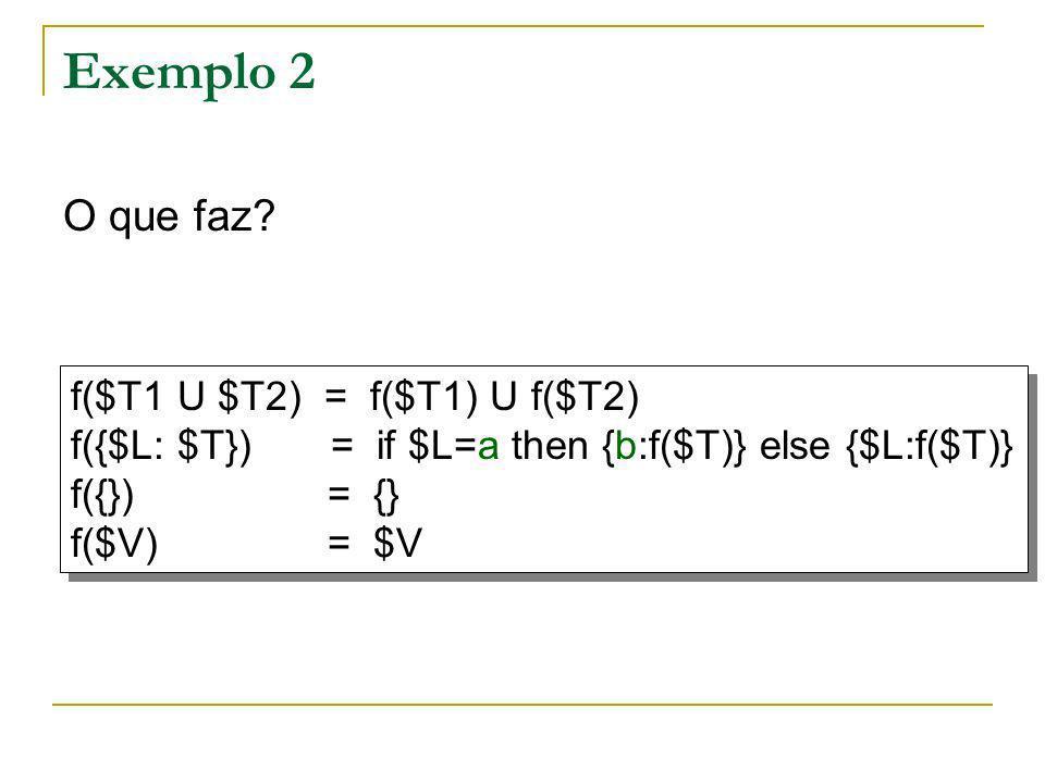 Exemplo 2 O que faz f($T1 U $T2) = f($T1) U f($T2)
