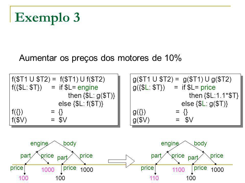 Exemplo 3 Aumentar os preços dos motores de 10%