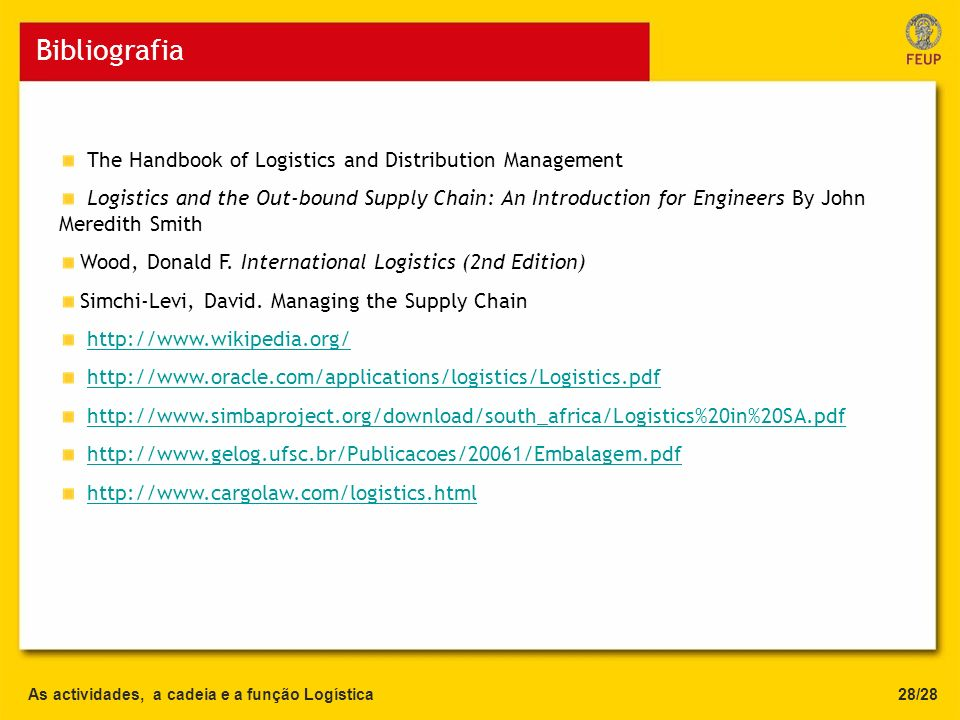 Bibliografia The Handbook of Logistics and Distribution Management