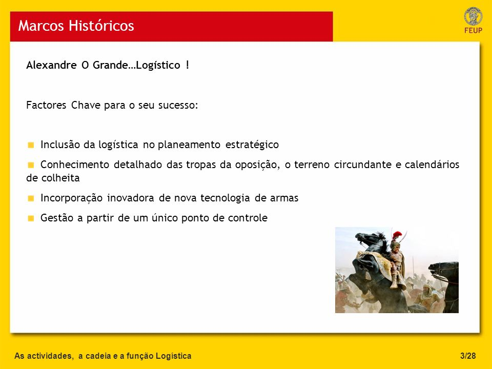Marcos Históricos Alexandre O Grande…Logístico !