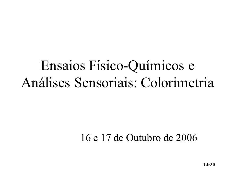Ensaios Físico-Químicos e Análises Sensoriais: Colorimetria