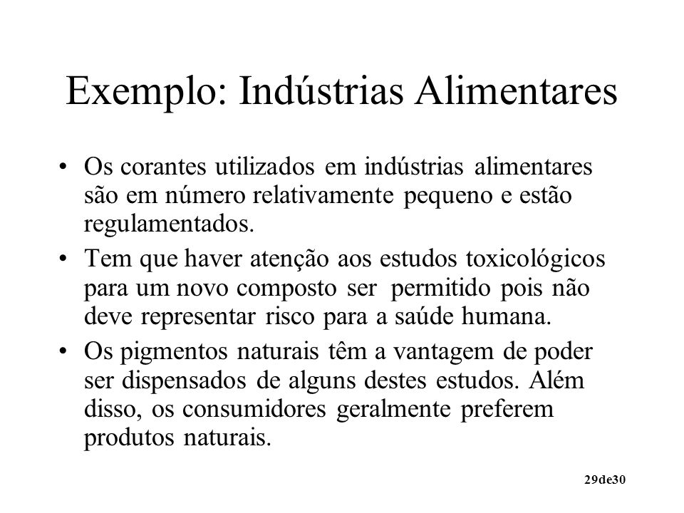 Exemplo: Indústrias Alimentares