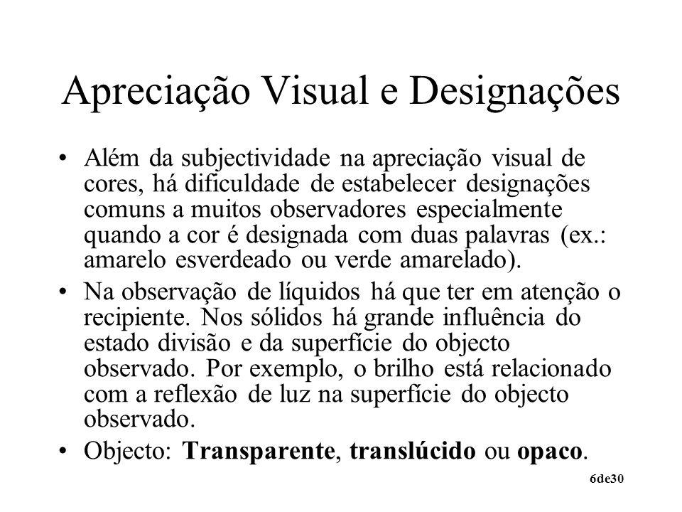 Apreciação Visual e Designações