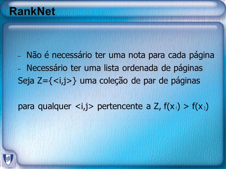 RankNet Seja Z={<i,j>} uma coleção de par de páginas