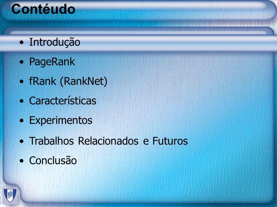 Contéudo Introdução PageRank fRank (RankNet) Características