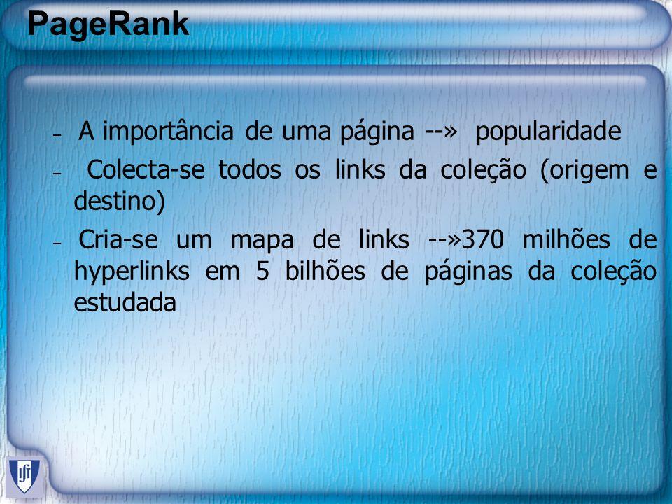 PageRank A importância de uma página --» popularidade