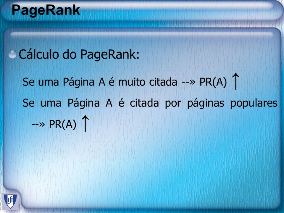 PageRank Cálculo do PageRank: