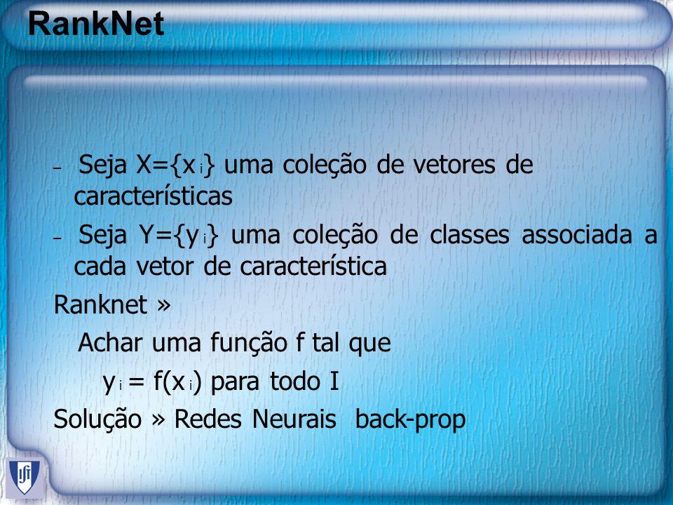RankNet Ranknet » Achar uma função f tal que y i = f(x i) para todo I