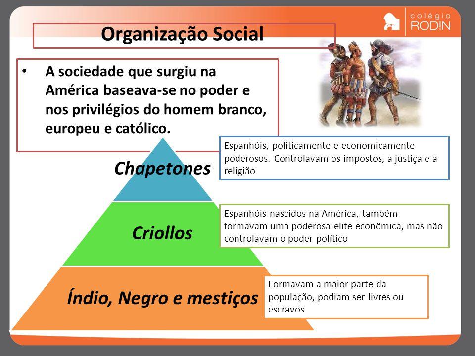 Organização Social Chapetones Criollos Índio, Negro e mestiços