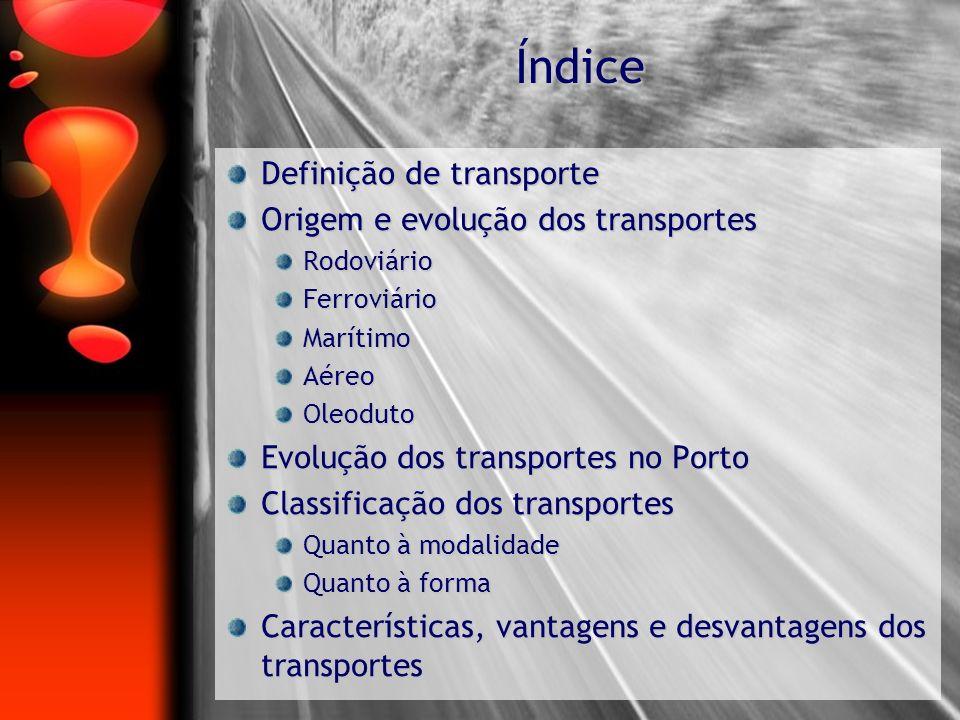 Índice Definição de transporte Origem e evolução dos transportes