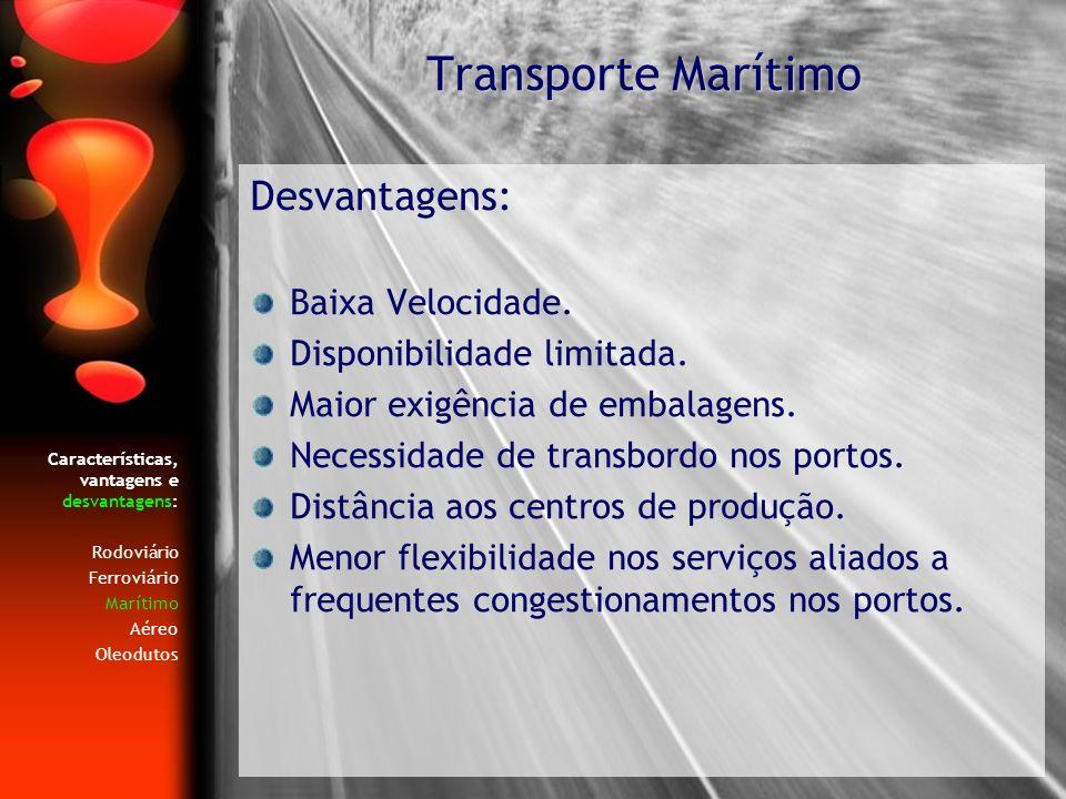 Transporte Marítimo Desvantagens: Baixa Velocidade.