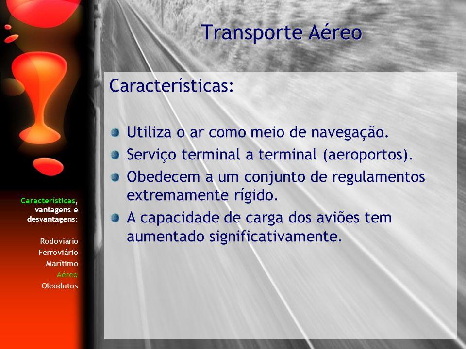 Transporte Aéreo Características: Utiliza o ar como meio de navegação.