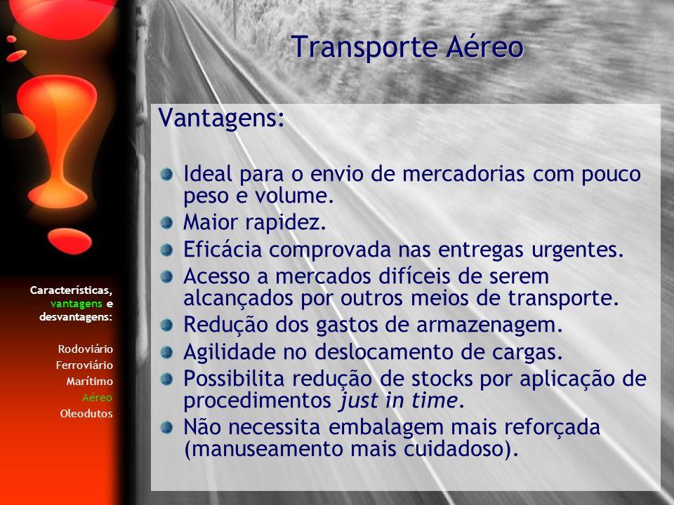 Transporte Aéreo Vantagens: