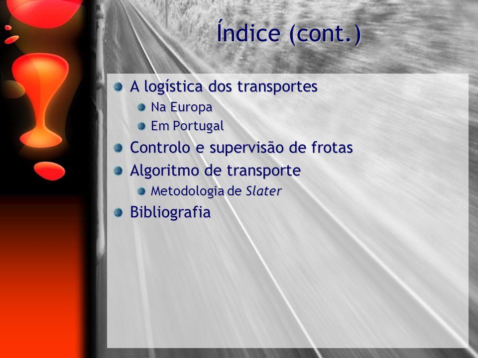 Índice (cont.) A logística dos transportes