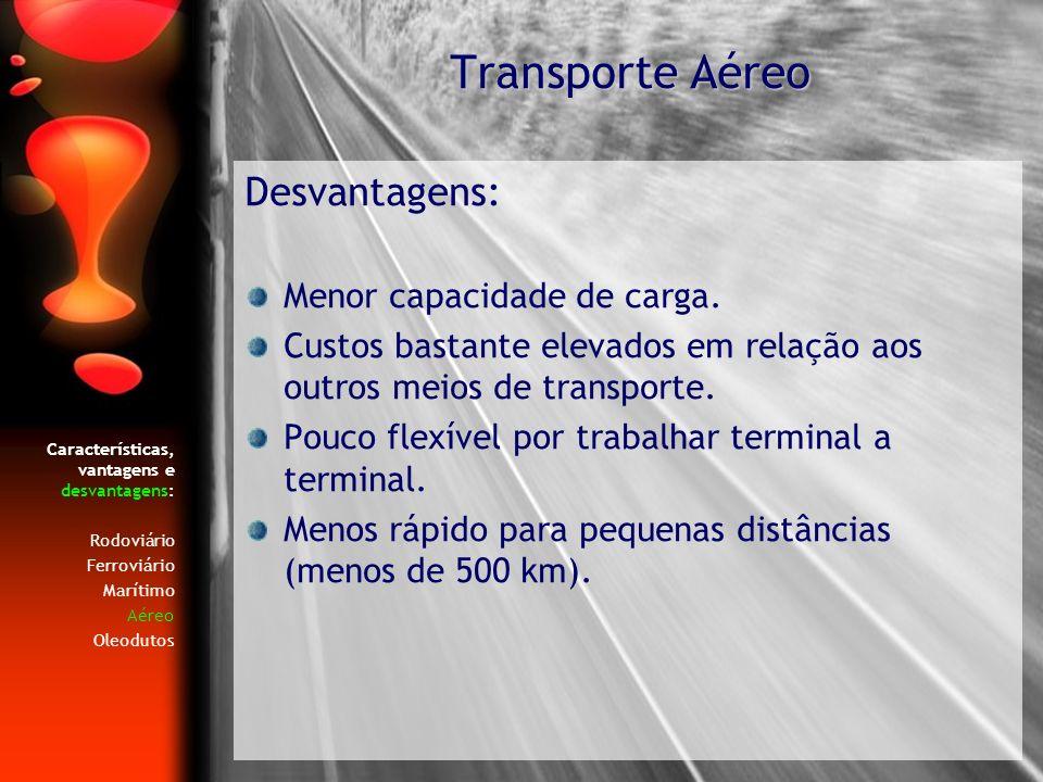 Transporte Aéreo Desvantagens: Menor capacidade de carga.