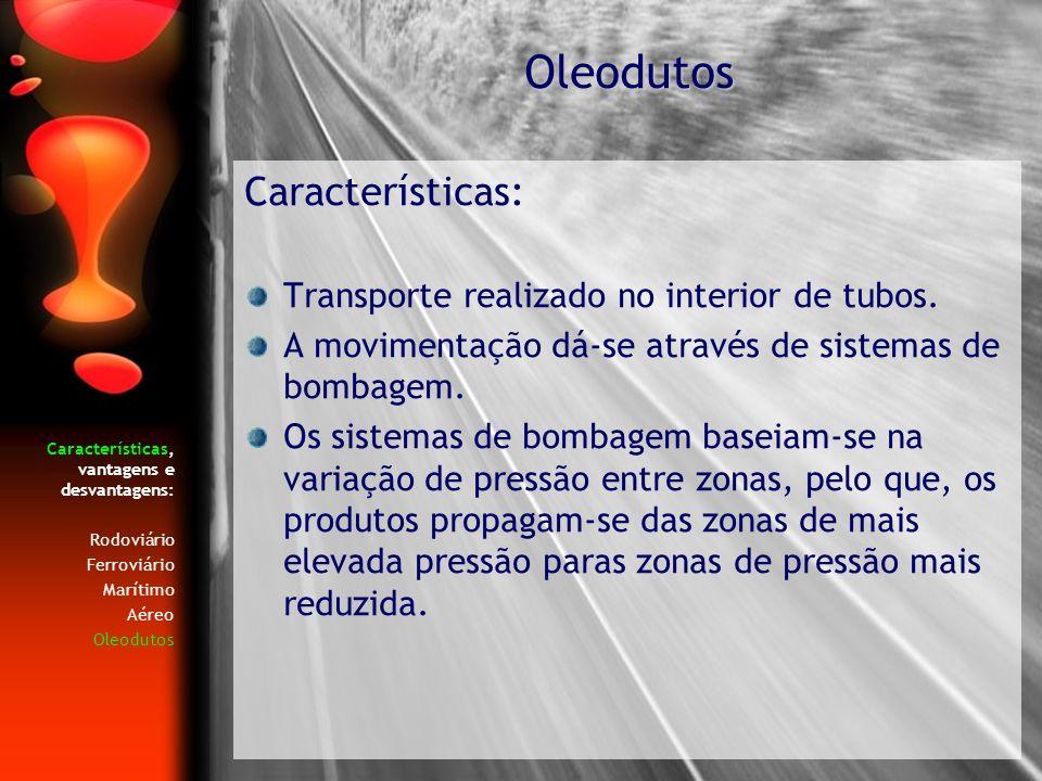 Oleodutos Características: Transporte realizado no interior de tubos.