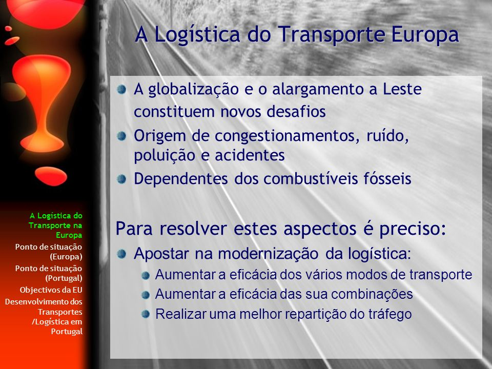A Logística do Transporte Europa