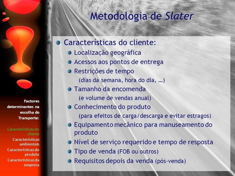 Metodologia de Slater Características do cliente: