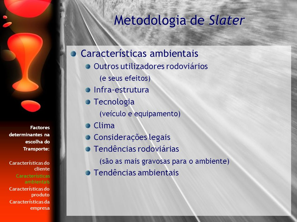 Metodologia de Slater Características ambientais