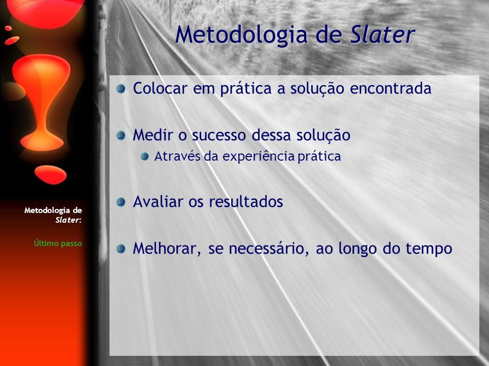 Metodologia de Slater Colocar em prática a solução encontrada