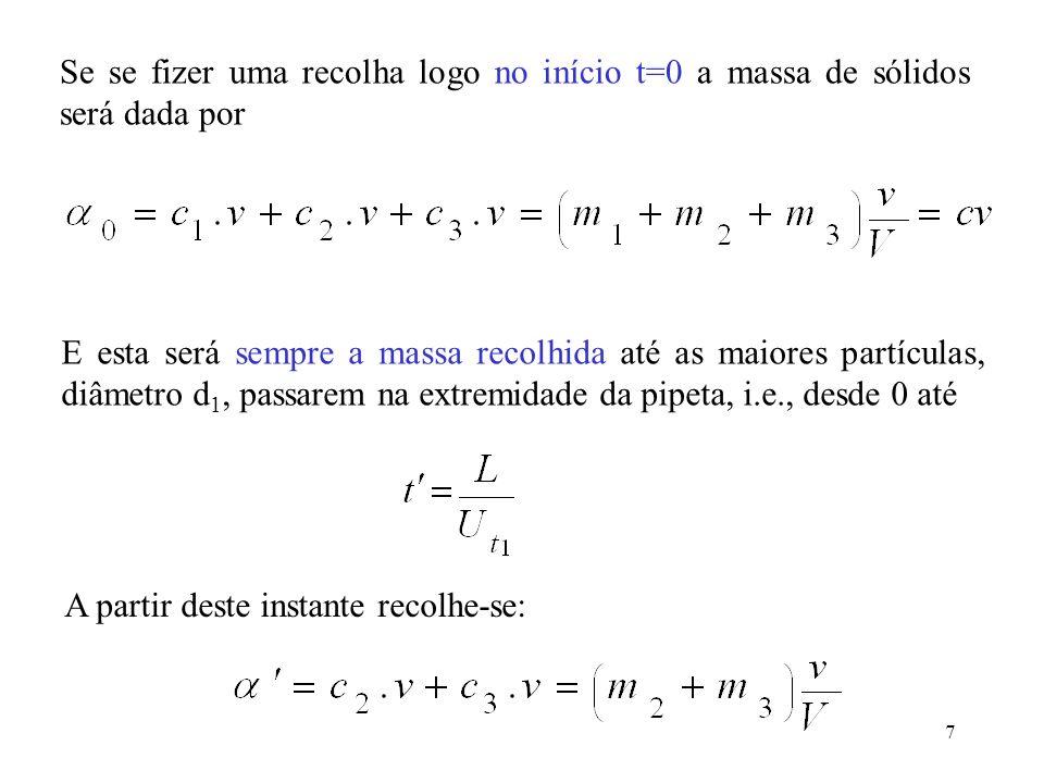 Se se fizer uma recolha logo no início t=0 a massa de sólidos será dada por
