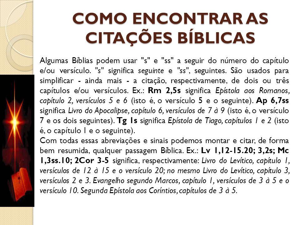 COMO ENCONTRAR AS CITAÇÕES BÍBLICAS