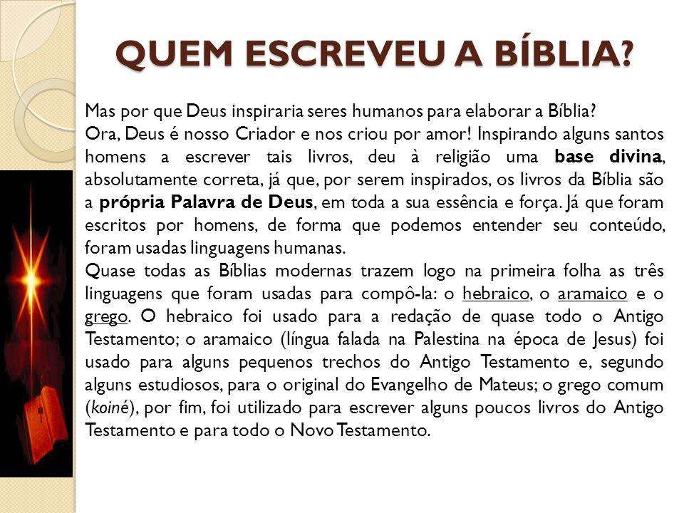 QUEM ESCREVEU A BÍBLIA Mas por que Deus inspiraria seres humanos para elaborar a Bíblia
