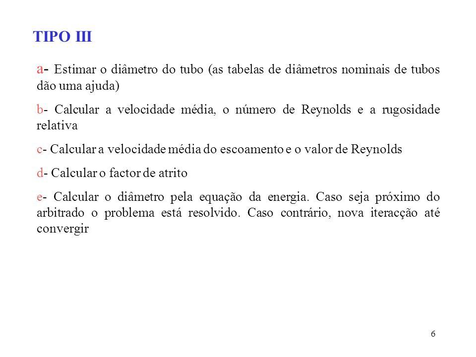 TIPO III a- Estimar o diâmetro do tubo (as tabelas de diâmetros nominais de tubos dão uma ajuda)
