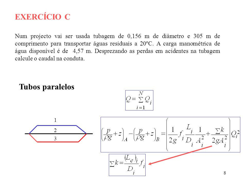 EXERCÍCIO C Tubos paralelos