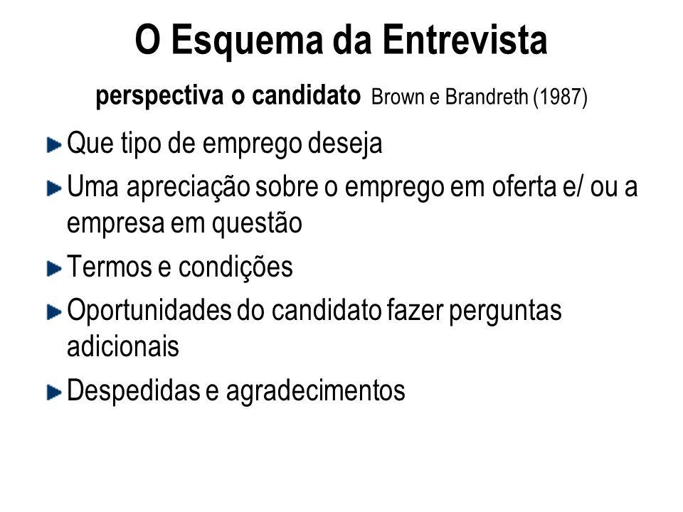O Esquema da Entrevista perspectiva o candidato Brown e Brandreth (1987)