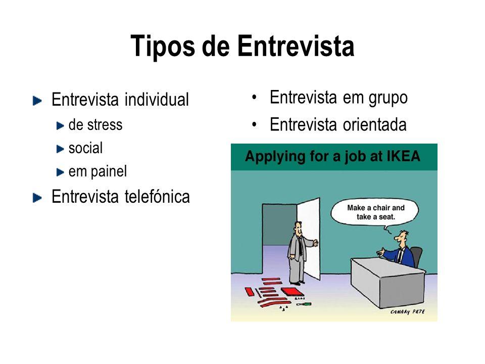 Tipos de Entrevista Entrevista em grupo Entrevista individual