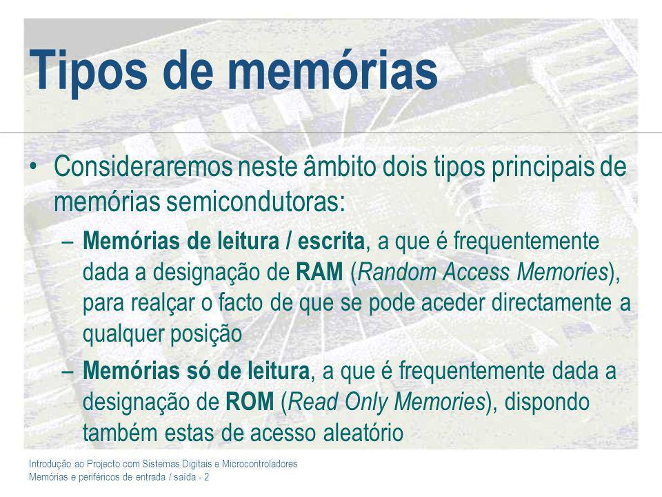 Tipos de memórias Consideraremos neste âmbito dois tipos principais de memórias semicondutoras: