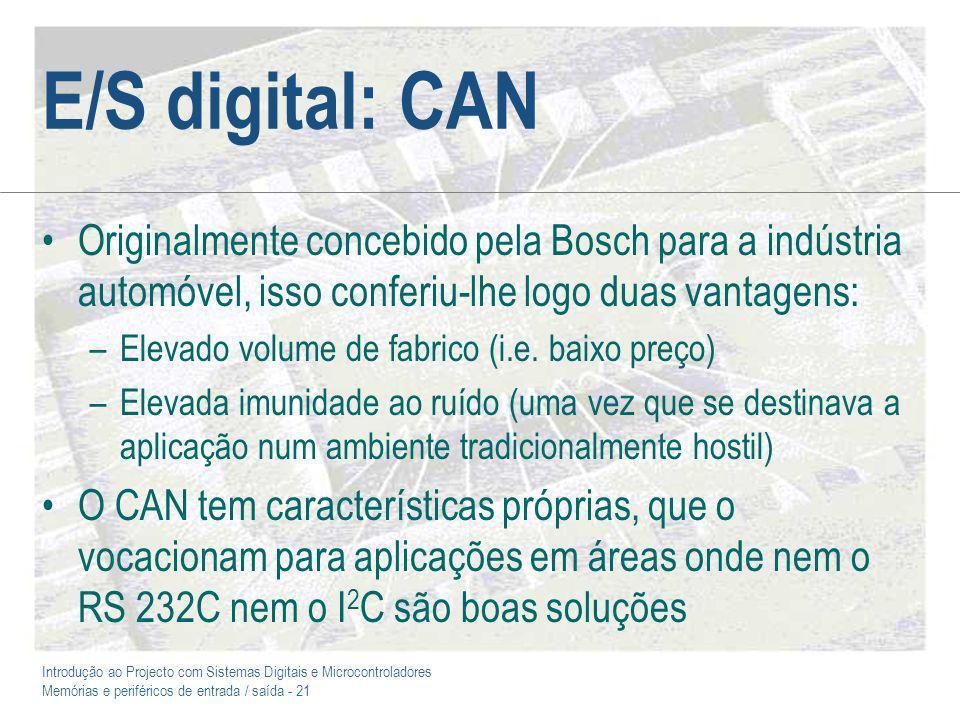 E/S digital: CAN Originalmente concebido pela Bosch para a indústria automóvel, isso conferiu-lhe logo duas vantagens: