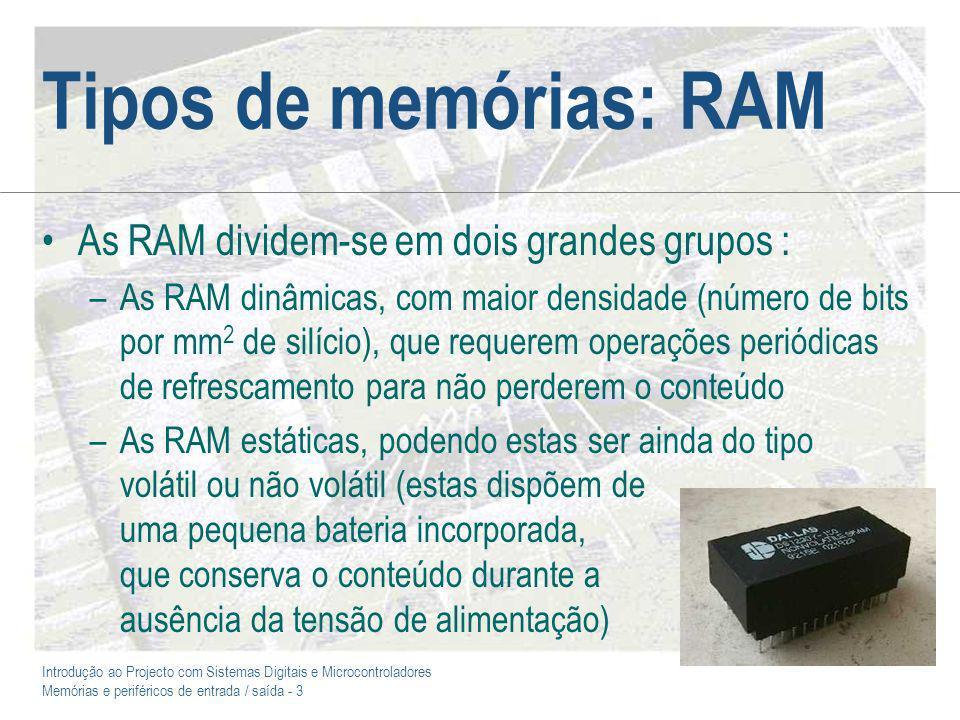Tipos de memórias: RAM As RAM dividem-se em dois grandes grupos :