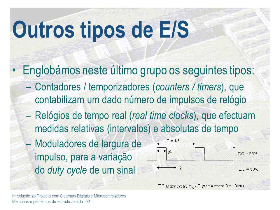 Outros tipos de E/S Englobámos neste último grupo os seguintes tipos: