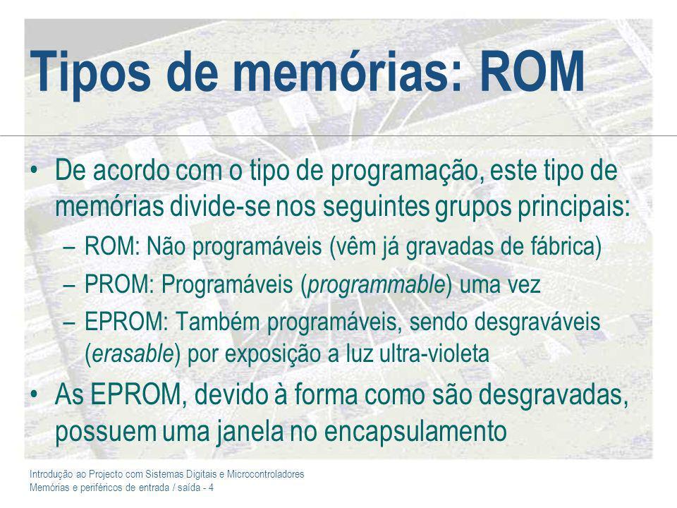 Tipos de memórias: ROM De acordo com o tipo de programação, este tipo de memórias divide-se nos seguintes grupos principais: