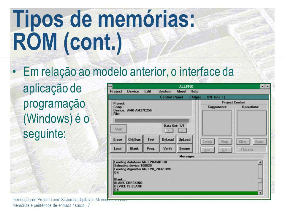 Tipos de memórias: ROM (cont.)