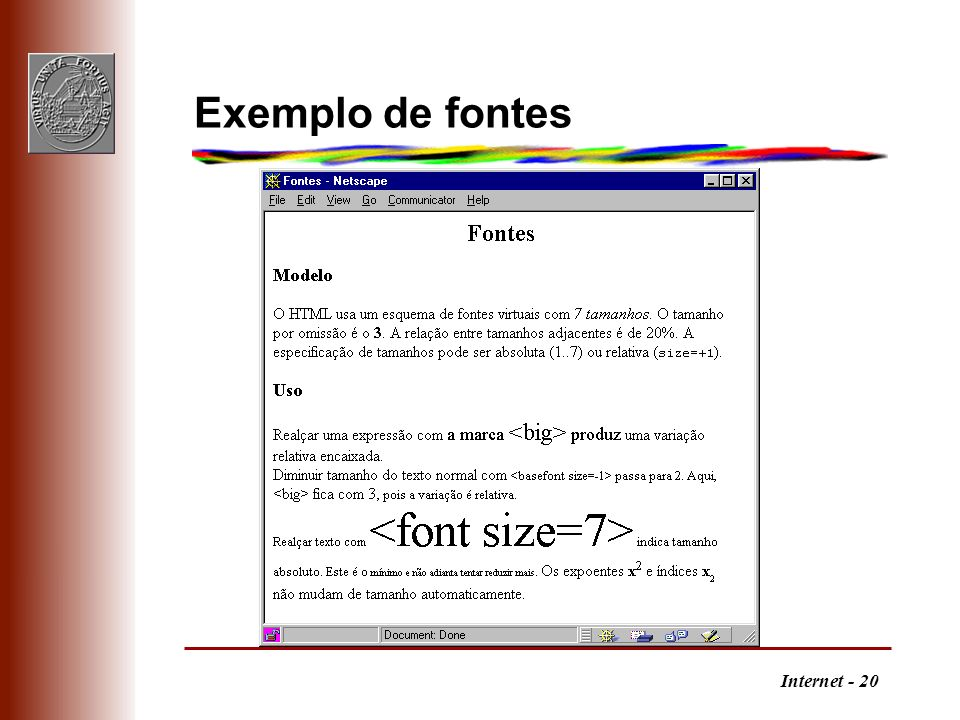 Exemplo de fontes
