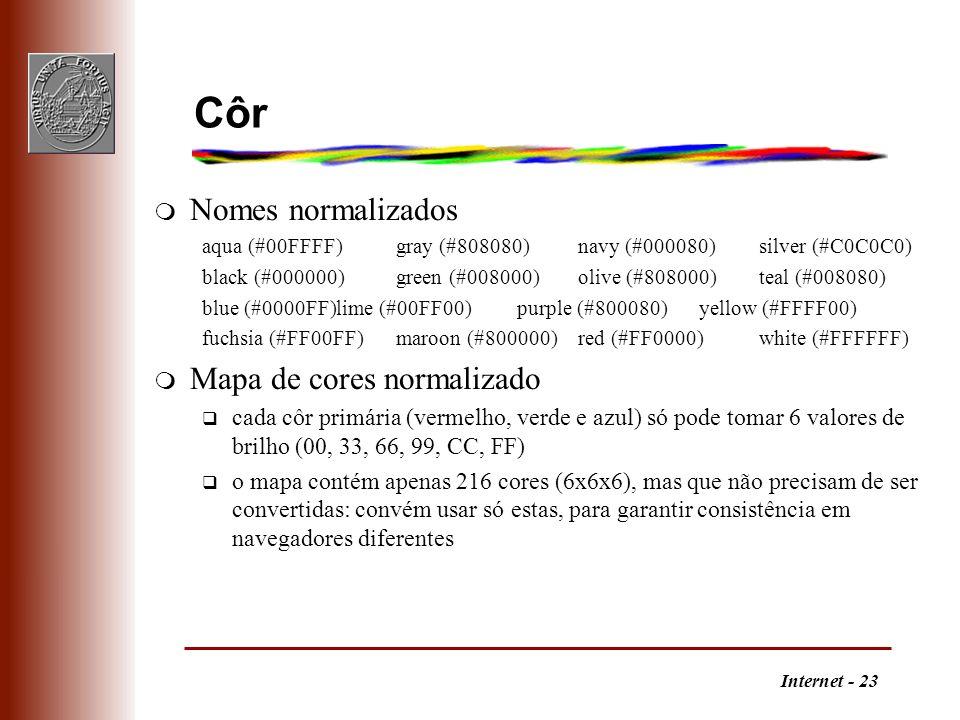 Côr Nomes normalizados Mapa de cores normalizado