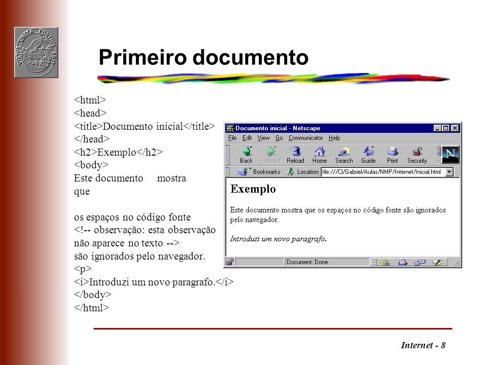 Primeiro documento <html> <head>