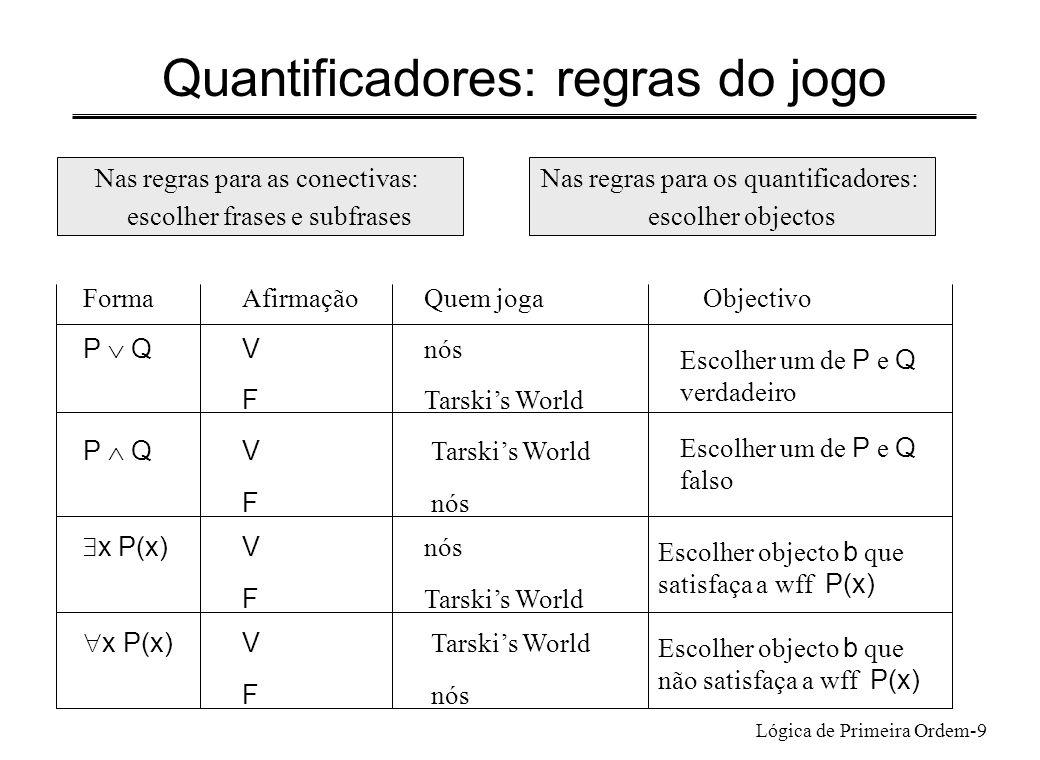 Quantificadores: regras do jogo
