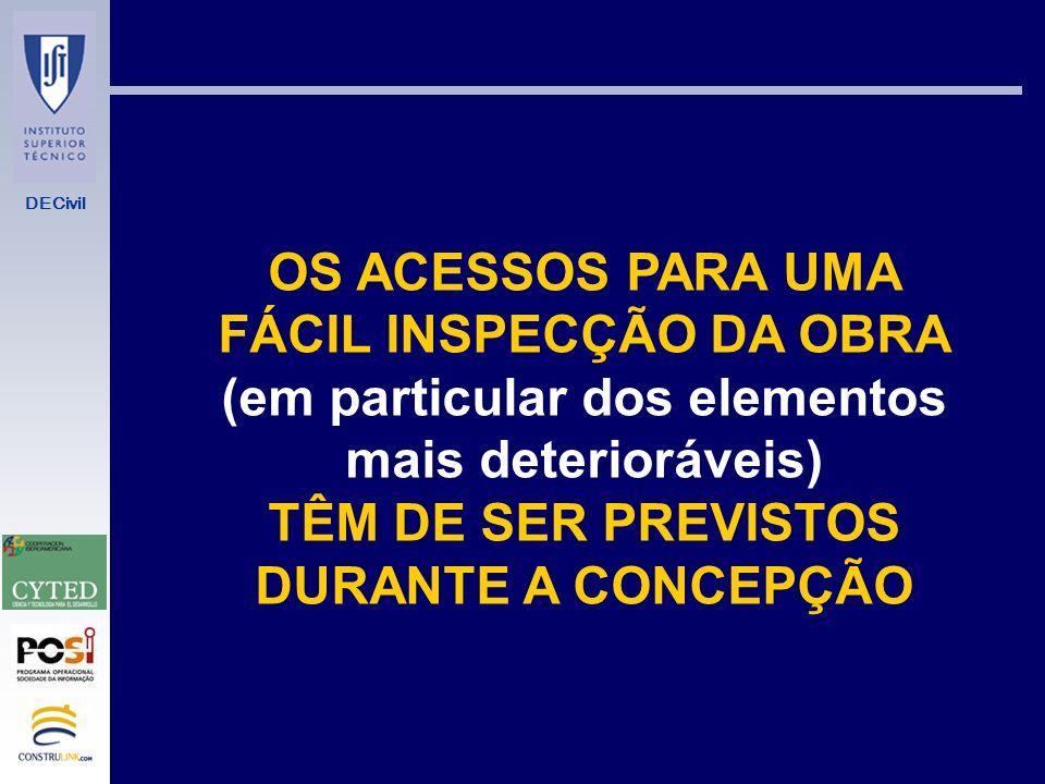 OS ACESSOS PARA UMA FÁCIL INSPECÇÃO DA OBRA
