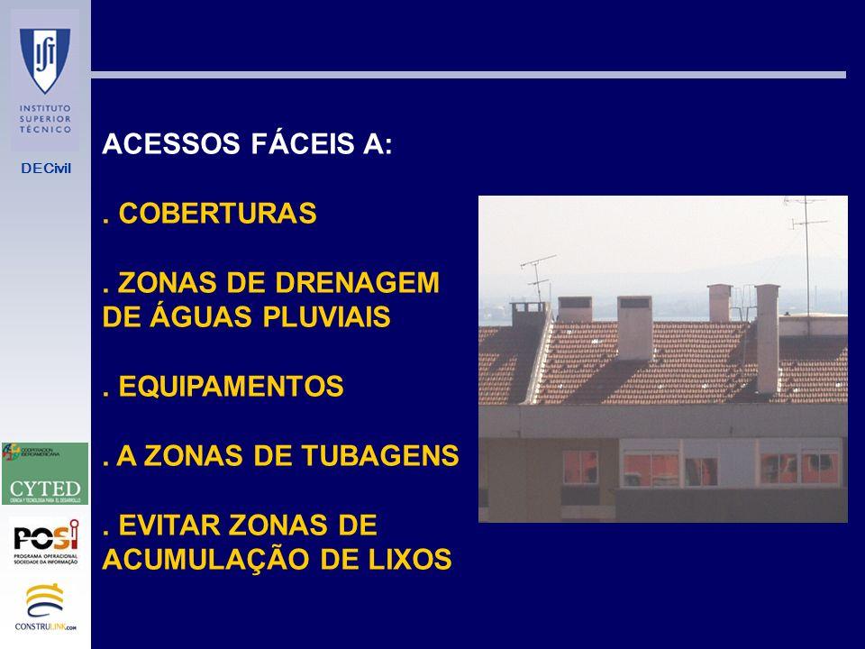 ACESSOS FÁCEIS A: . COBERTURAS. . ZONAS DE DRENAGEM. DE ÁGUAS PLUVIAIS. . EQUIPAMENTOS. . A ZONAS DE TUBAGENS.