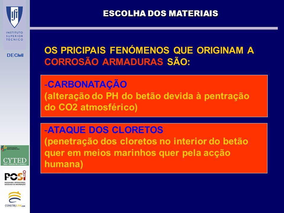OS PRICIPAIS FENÓMENOS QUE ORIGINAM A CORROSÃO ARMADURAS SÃO: