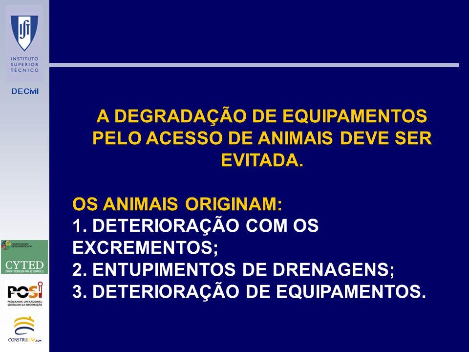 A DEGRADAÇÃO DE EQUIPAMENTOS PELO ACESSO DE ANIMAIS DEVE SER EVITADA.